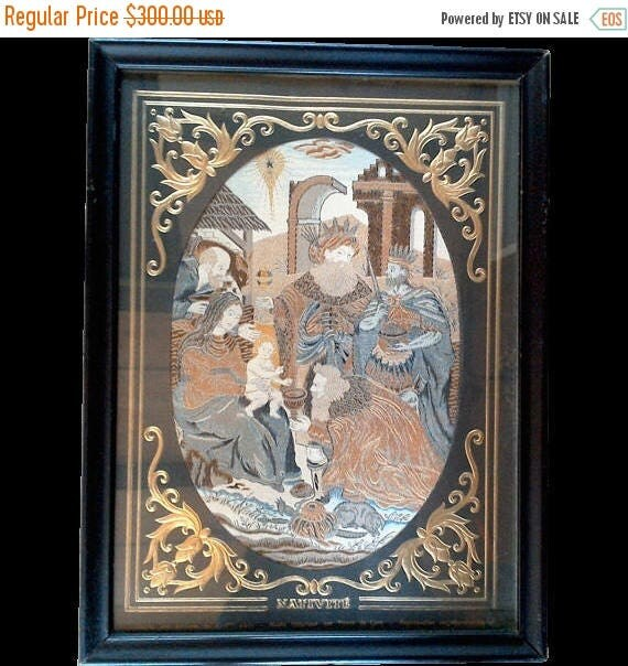 50% off Antique French Woven Silk Framed Tapestry Fabric ~ Nativity Scene