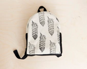 Toddler backpack, Preschool, Feather print, Tribal, Block printed, Hand stamped
