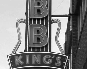 B B Kings Sign in Black and White, Music Photography, Fine Art Photography, Beale Street Memphis Tennessee