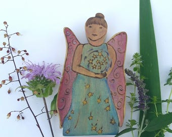Star Faerie, Fairy God mother, Magical doll, Flower Star Shiney Doll, Wooden Waldorf Toy,