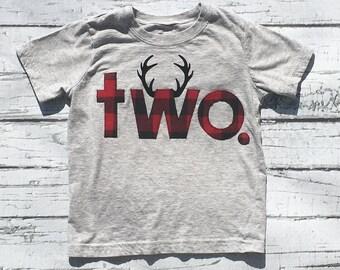 Lumberjack/Lumberjack Birthday/Two/Second Birthday/Boy/Shirt/Antlers/Birthday Shirt/Ready To Ship//NEW DESIGN