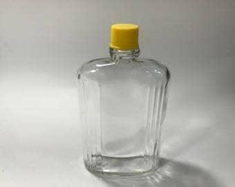 Vintage Hip Flask Insert Glass 8 ounces Half Pint Yellow Plastic Lid