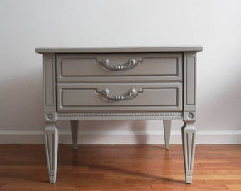 SOLD***French Chic Grey Nightstand/Side Table/End Table