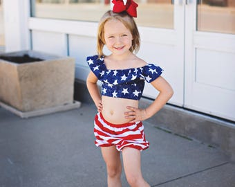 Patriotic Star Crop Top Cold Shoulder Off the Shoulder Toddler Girl