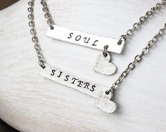 Soul sisters soul sisters necklaces SET of 2 soul sisters necklace set best friend necklace best friend jewelry besties soul sister jewelry
