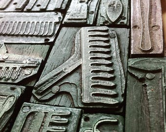 Collection of French vintage letterpress printing block, tools