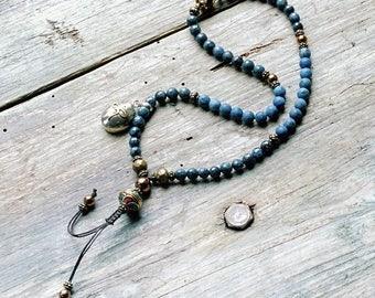 Beautiful blue stone half mala - wrist mala bracelet