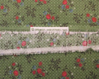 Green Calico Fabric, Quilting Fabric,  0.64 Yard