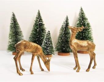Vintage Brass Deer, Reindeer Pair