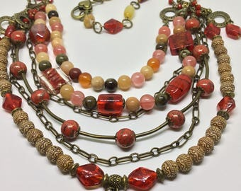 Stunning Boho/vintage Multi Tiered Necklace.