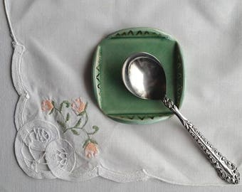 Ceramic Spoon Rest, Light Green Spoon Rest, Small Trinket Dish