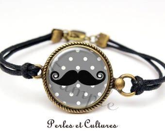 Bracelet cabochon mustache ღ stings! Polka dot black grisღ ღ