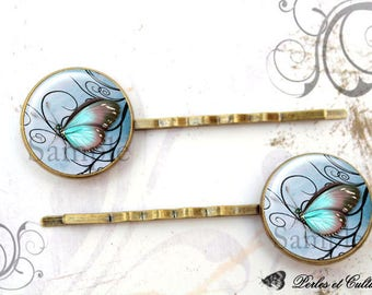 Hair clips x 2 Butterfly - blue Brown cabochon
