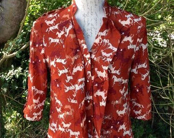 Gorgeous equestrian style horse print blouse