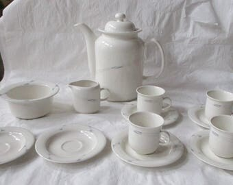 Arabia Finland ARCTICA Coffee Pot, Creamer, Sugar, 4 Cups & Saucers, Gray Band (c. 1970s)