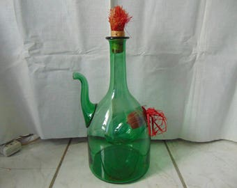 Large Green Glass Wine Decanter with Ice Chamber