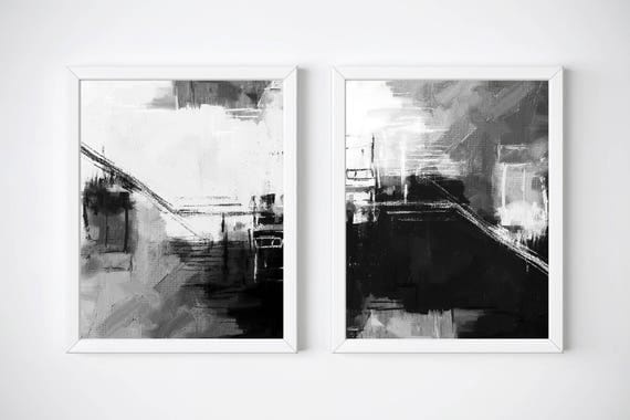 Set of 2 black and white prints 24 x 36 in printable art set abstract black and white prints set scandinavian prints digital art set
