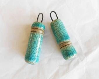 Turquoise Cylinder Earring Beads Dangles Charms Handmade Ceramic Artisan Beads