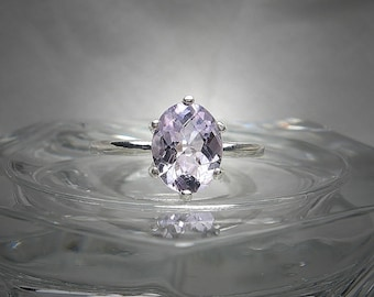 Natural Lilac Rose de France Amethyst 9x7mm Oval Checkerboard Cut Sterling Silver Solitaire Ring Size 7