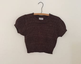 Brown Mohair Crop-Top Sweater - Early 90s