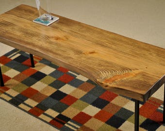 Metal leg coffee table, Special Walnut Stain