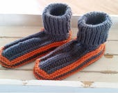 Knitted adult/teen stretchy yarn sock slippers - grey/orange adult booties - cozy house slippers - grey cozy house socks - knitted socks