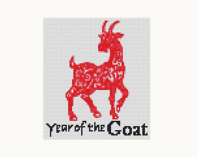 Year of the Goat, Chinese Zodiac Cross Stitch, Art Cross Stitch (TAS120)