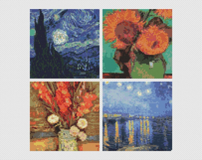 Cross Stitch Kit, Embroidery Kit, Art Cross Stitch, Floral Cross Stitch, Four Squares featuring Vincent Van Gogh (VGOGH30)