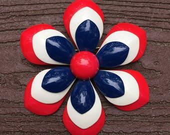 Vintage Patriotic Red White Blue Enamel Metal Flower Pin Brooch