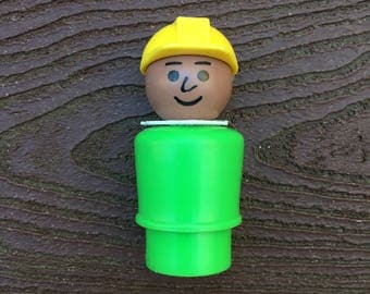 Vintage Fisher-Price Little People Offshore Cargo Base AA Construction Worker