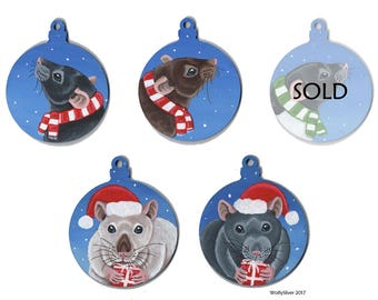 Rat Christmas Festive Snowy Baubles - Hand Painted onto Wooden Bauble - Black, Agouti, Siamese and Russian Blue Grey Rat Decorations