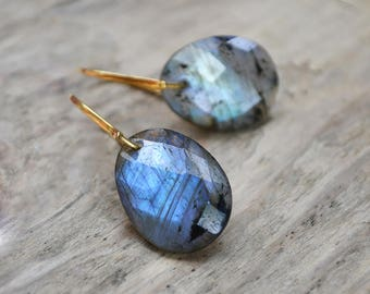 labradorite earrings /// labradorite dangle earrings in 14k gold fill /// modern gemstone earrings • READY TO SHIP
