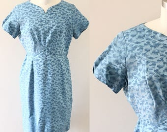 1960s blue wiggle dress // blue army print dress // vintage dress