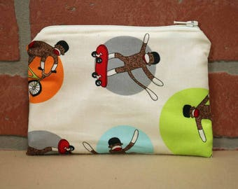 One Snack Sack, Sock Monkey, Reusable Lunch Bags, Waste-Free Lunch, Machine Washable, Back to School, School Lunch, item #SS56