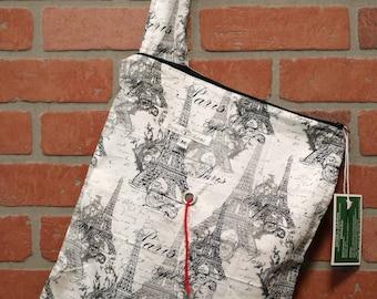 Medium Knitting Bag, Crochet, Knit, Yarn, Wool, Paris, Yarn Storage, Yarn Bag with Hole, Grommet, Handle, MYB11