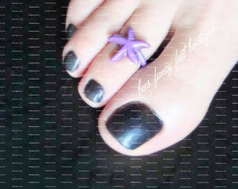 Toe Ring - StarFish - Constituted Precious Stone | Purple Stretch Bead Toe Ring