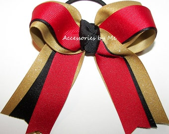 Gymnastics Bow, Red Black Gold Ribbons, Sparkly Gymnastic Clip, Gymnast Hair Ties Elastics, Dance Cheer Bows, Red Gold Bow, Bulk Cheap Price