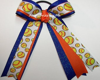 Softball Hair Bow, Gators Ponytail Holder, Orange Royal Blue Glitter Softball Bows, Team Spirit Cheap Bow, Glittery Florida Softball Hairbow