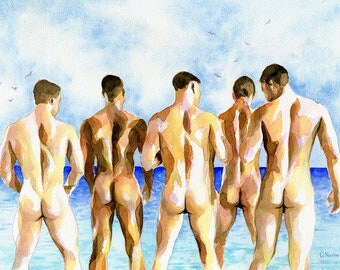 "PRINT Original Art Work Watercolor Painting Gay Male Nude ""Beach party"""