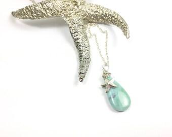 Larimar Necklace, Larimar Pendant, Larimar Jewelry, Larimar gemstone, Starfish Necklace, Beach Jewelry, Beach Necklace, Starfish charm