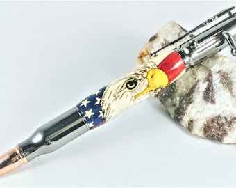 Patriot Bolt Action Pen, Chrome with wood inlay Eagle
