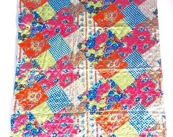 Vintage Throw Quilted Satin Fabric 1960s Machine Quilted Satin Fabric Throw Florals Gingham Calico Pinks Greens Oranges Blues White Black