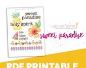 Sweet Paradise Words, Digital Bible Journaling, Margin Stickers, Bookmarks, Sticker Printable