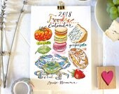 2018 Calendar. Food and Drink. Illustrated. Kitchen Decor. Food Art. Foodie. 5x7