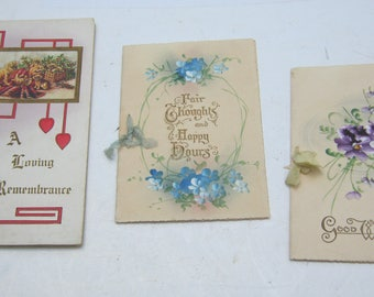 3 rare Good Wishes and Thoughts Greeting Cards (Valentine) 2 British & embossed