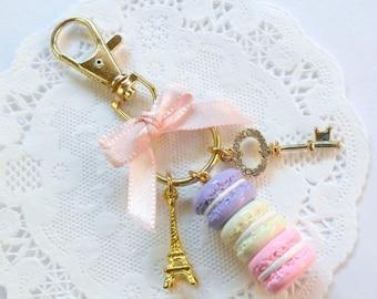 ON SALE Pastel Macaron Trio Eiffel Tower Keychain, Purse or Bag Charm, Cute And Kawaii :D