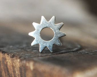 Silver Sun Nose Stud - You Choose the Gauge and the Bend - Artisan Body Jewelry, Nickel Free