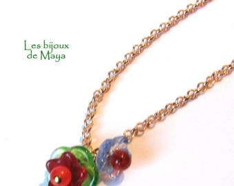 Czech glass flower chain flash necklace gold