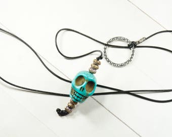 Turquoise skull necklace - Long lariat necklace - Festival jewelry - Magnesite skull necklace - Double wrap necklace - Layering necklace