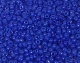 Dark blue seed beads opaque glass round 2mm